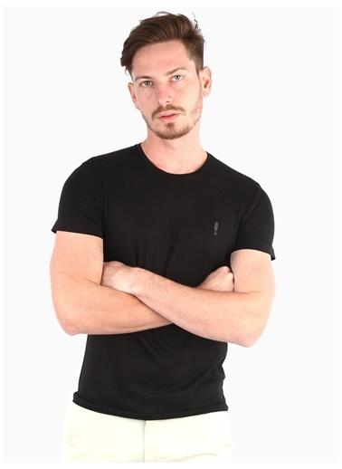 Dufy Grı Bısıklet Yaka Düz Erkek T-Shırt - Slım Fıt Siyah